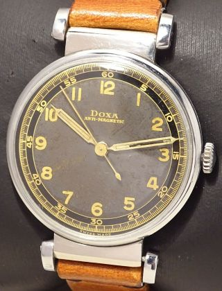 V.  Rare Military 35 Mm Vintage Doxa Antimagnetic With Two Tone Dial