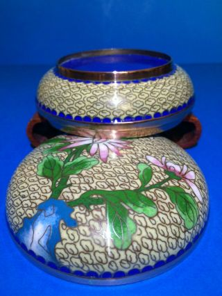 A Good Antique Chinese Cloisonne Circular Box And Cover,  Ching / Early Republic