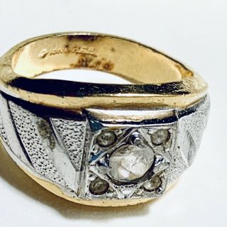 Men's 18k Gold Plated Stamped Ring 5 Embedded Diamonds Thick Vintage Setting