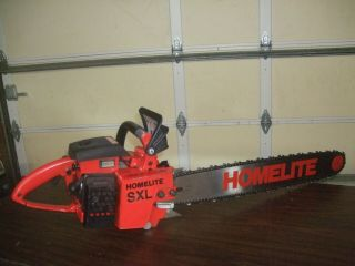 Vintage Homelite Xl Sxl Chainsaw W/24 Inch Bar & Chain - -