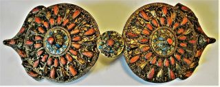 Museum Quality Lg Antique Ottoman Turkish Enamel Coral Belt Buckle 35 Cm 1850