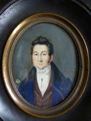 Fine Antique Early 19th C.  Gentleman Miniature Portrait Signed Chedel Dated 1824