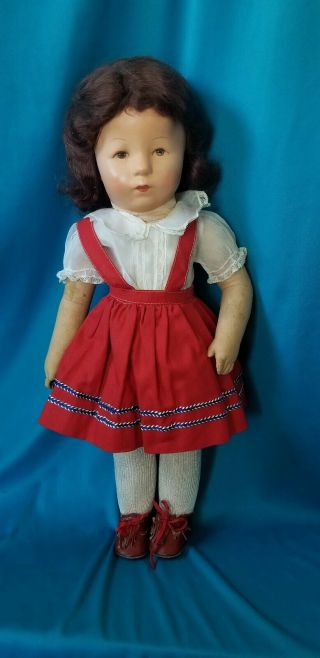 """Antique 17 """" Kathe Kruse Doll - All Cloth - Replaced Wig & Clothes"""