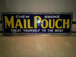 Vintage 1930's Mail Pouch Smoke Chewing Tobacco Porcelain Sign 36""