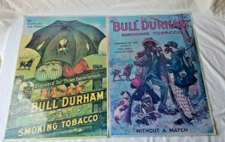 2 Antique Bull Durham Tobacco Color Posters Black Americana Advertising