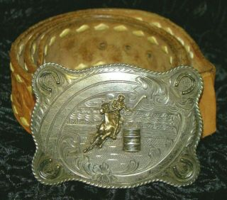 Vintage H.  S.  Means Culver City Cal Sterling Silver 10k Gold Rodeo Belt Buckle