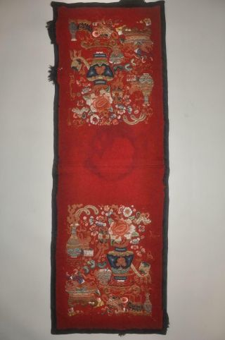 Antique Chinese Qing Dynasty Embroidered Silk Panel - 3
