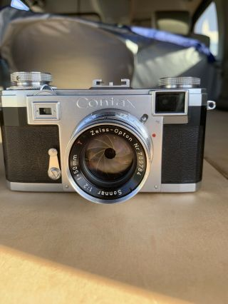 Vintage Zeiss Ikon Contax Iia Camera W/ Opton Sonnar T 50mm F/1.  2 Lens.