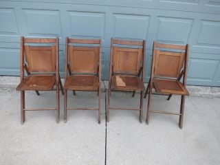Vintage 2 Pair Wood Folding Slat Chairs 4 Chairs