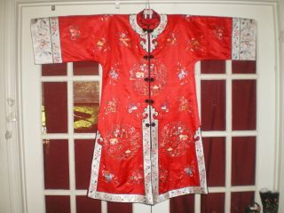 Fine Old Chinese Red Silk Long Jacket/robe W/embroidered Garden Swords Bats Sz L