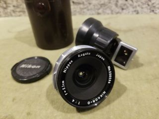 Vtg Nikkor - O 21mm Mirror Up Lens & Finder W/case & Cap Nippon Kogaku Japan