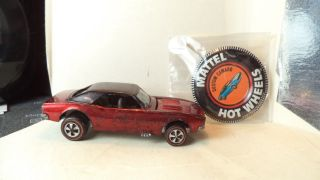 Vintage Hot Wheels Red Lines Usa 1968 Custom Camaro [red] W/button
