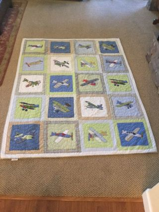 "Rare Pottery Barn Kids Vintage Planes Airplane Twin Size (68"" X 86"") Quilt"