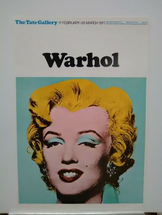 Andy Warhol Marilyn Monroe - Never Framed Vintage 1971 Tate Gallery Poster Nm