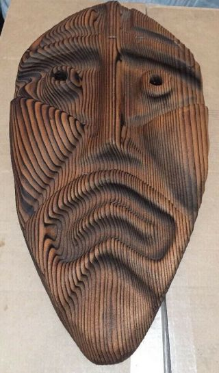 Vintage Witco - Style Tiki Mask Wood Carvings Label Gale Haner Rare