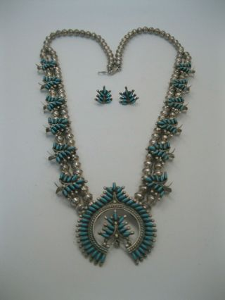 Vintage Zuni Silver & Needlepoint Turquoise Squash Blossom Necklace,  Earrings