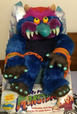 My Pet Monster Vintage Blue 1986 Amtoy Handcuffs Rare Great