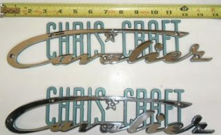 Vintage Chris Craft Cavalier Emblem Blue/green (in Pairs)