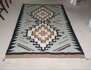 """Vintage Large Native American Navajo Rug With Two Grey Hills Pattern,  81 """" X 49 """""""