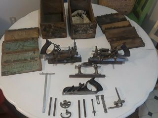 Vintage Stanley No.  55 Plane,  Cutters,  & Parts Wood Tools