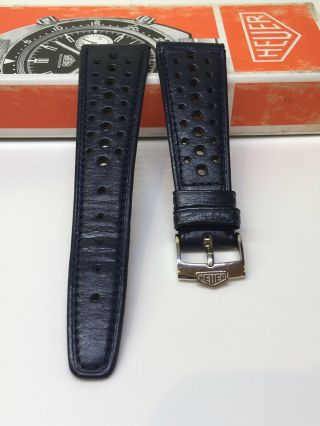 Vintage Heuer Monaco 22mm Perforated Leather Rally Band Blue Heuer B Buckle 16mm