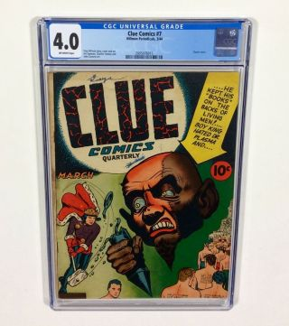 Clue Comics 7 Cgc 4.  0 (classic Cover,  Very Rare Comic Book) Mar.  1944 Hillman