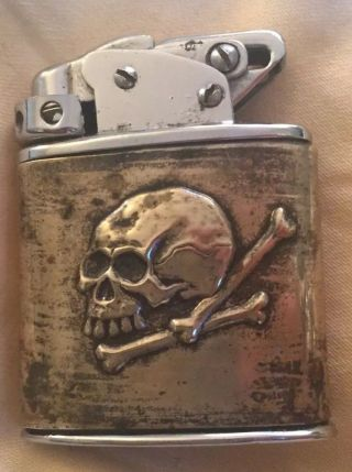 Rare German European Windscreen Automatic Special Force Skull Ww2 Pocket Lighter
