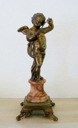 Exquisite Vintage Bronze Cherub With Triangle On Marble Base,  French Anttique