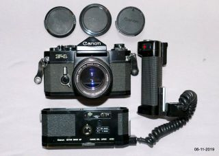 Canon F - 1,  Motor Drive Mf,  Rare Connecting Cord & 50/1.  4 Fd Lens.  &