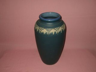 """Antique Monmouth Pottery Western Stoneware American Arts & Crafts Blue Vase 16 """""""