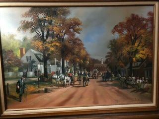 "Vintage Oil Painting On Canvas Signed By Lloyd Garrison 24 "" X36 """
