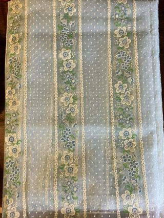 Vintage Sheer Light Blue Flocked Fabric White & Blue Flowers & Dotted Swiss