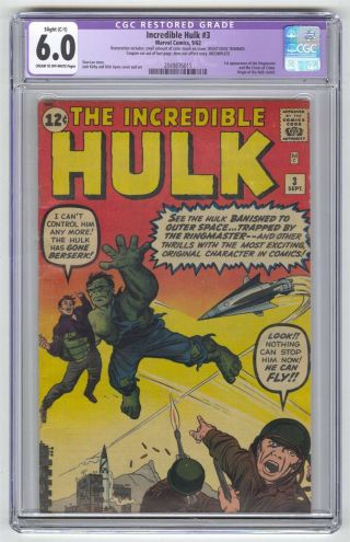 Incredible Hulk 3 Cgc 6.  0 Vintage Marvel Comic Key Origin Retold 1st Ringmaster