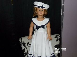 """1936 Shirley Temple Doll Standing 36 """" Dressed In Sailor Outfit With Hat"""