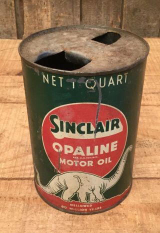 Vintage Sinclair Opaline Motor Oil Gas Service Station Tin Can Dino Graphic Sign