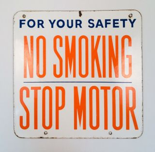"Vintage Union 76 Double - Sided Porcelain Enamel "" No Smoking "" Sign"