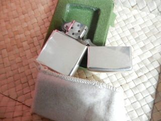 Vintage Zippo Sterling Silver Cigarette Lighter With Pouch And Box