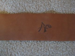 Ace Vintage 3 1/2 Inches Wide Tan Leather Guitar Strap Lightening Bolt Ace Logo
