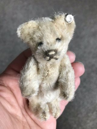 "Rare Vintage C1950 Jointed Steiff 3.  5"" Miniature White Mohair Bear W/button"