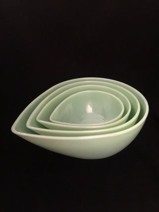 Very Rare Fire King Jadite Teardrop Swedish Mixing Bowls Complete Set