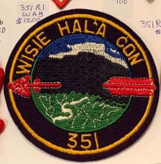 Oa Lodge 351 Wisie Hal'a Con 351r2 Rare Round Patch