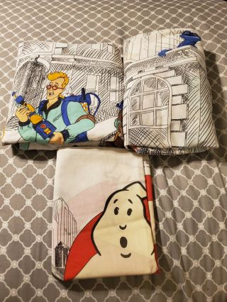Vintage Ghostbusters Cartoon Twin Bed Sheet Set Flat Fitted With Pillowcase