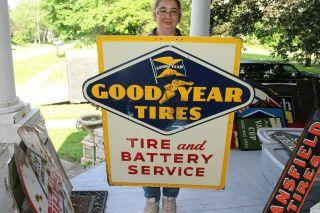 """Rare Vintage 1956 Goodyear Tires & Battery Gas Station 36 """" Embossed Metal Sign"""