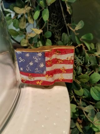 Nora Fleming Mini Flag Retired With Nf Markings Very Rare Gold Trim Htf