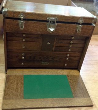 Vintage H.  Gerstner & Sons Model 042 11 Drawer Oak Machinist Tool Box Chest Key