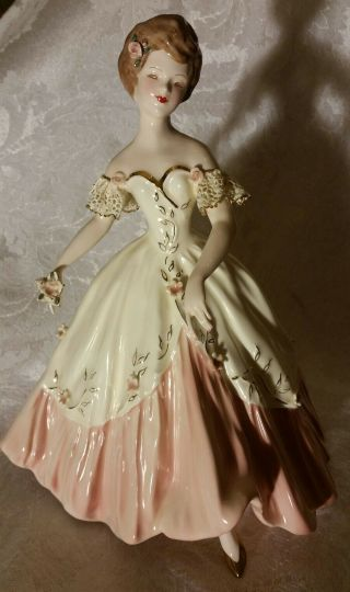 Extremely Rare Florence Ceramics Figurine Carol In Pink