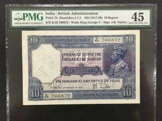 India (british Admin. ) 10 Rupees 1917 - 1930 - - Pmg 45 Xf - - - - - Rare