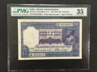 India (british Admin. ) 10 Rupees 1917 - 1930 - - Pmg 35 Vf - - - - - Rare