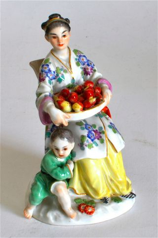 Meissen Rare Figurine Chinese Lady & With Tray Of Pears Model No:2645