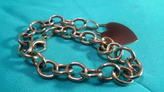 "Vintage Italian 14k Yellow Gold 8 "" Chain Link Bracelet With Blank Heart Id Tag"